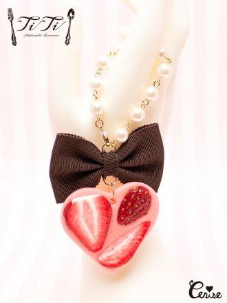 TiTi ストロベリーハートチョコタブレットバッグチャーム (ストロベリー)