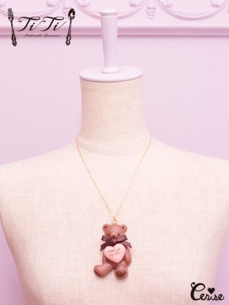TiTi くまのハートハグチョコネックレス