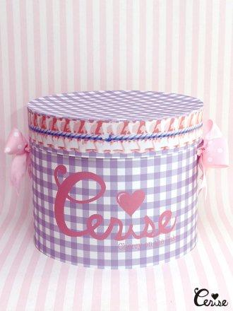 Hat Box ロゴ×フリルギンガム帽子箱(ラベンダー)