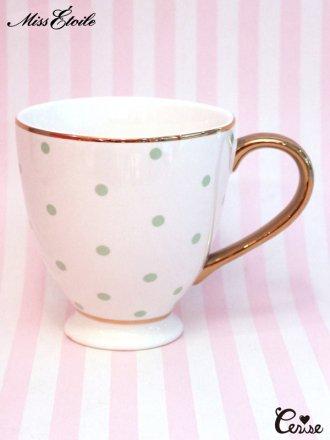 Miss Etoile  コーヒーマグ(ドット)(グリーン)