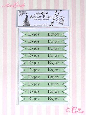 Miss Etoile ストロー用フラッグステッカー『ENJOY』(グリーン)