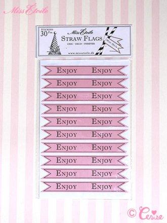 Miss Etoile ストロー用フラッグステッカー『ENJOY』(ピンク)