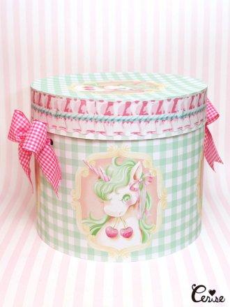Hat Box ユニコーン×フリルギンガム帽子箱(メロン)