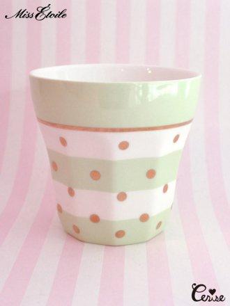 Miss Etoile  マグカップ(ドット&ボーダー)(グリーン)