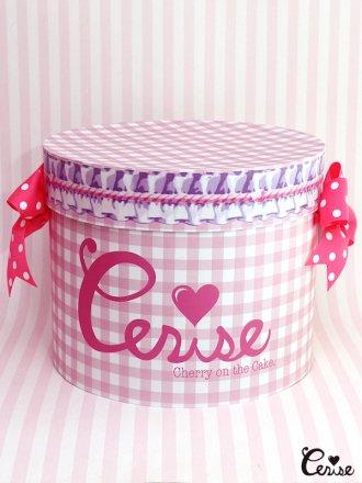 Hat Box ロゴ×フリルギンガム帽子箱(ベビーピンク)