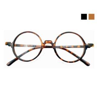 ラウンド型丸眼鏡 ブラック/デミ