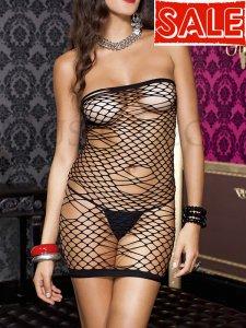 シームレス スパンデックス ダイヤモンドビッグネット チューブ ミニ ボディコン ドレス ml-6366