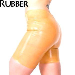 latexa1102-st-ラバー 製-男女兼用 バミューダ パンツ【ボンデージ】【ラバー】【ラテックス】●あめ色