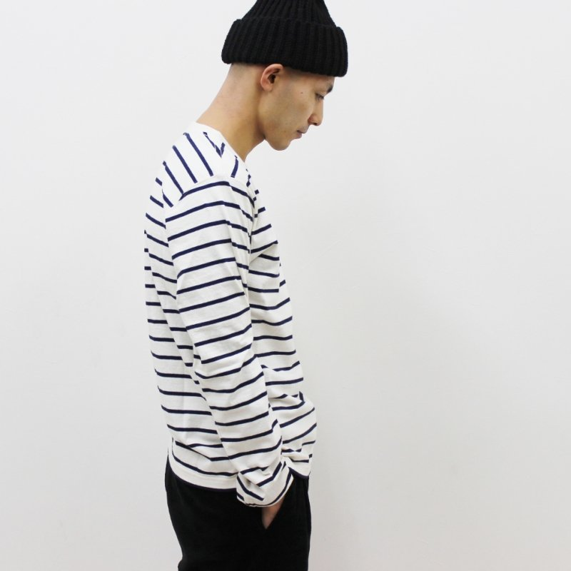 COLUMBIA KNIT MADE IN USA BORDER TEE(NATURAL/NAVY)