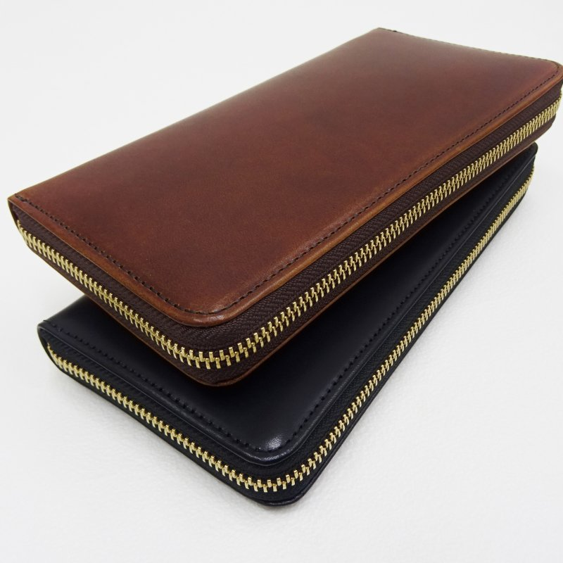 SLOW HERBIE round long wallet (BLACK/CHOCO)