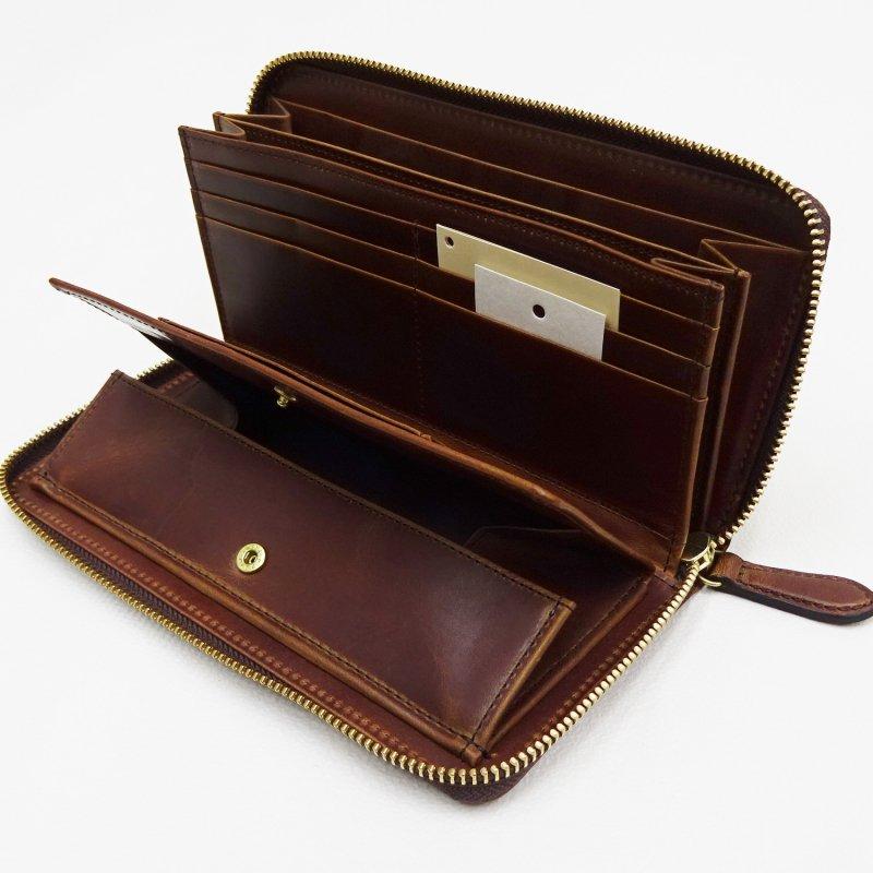 SLOW HERBIE round long wallet (BLACK/RED BROWN)