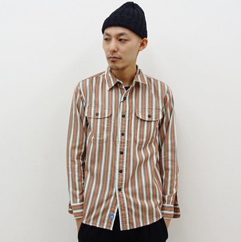 KATO' BASIC ストライプワークシャツ(ORANGE)