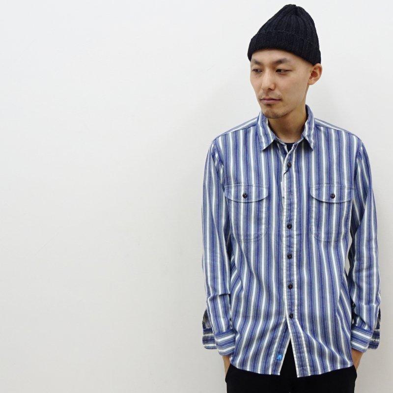 KATO' BASIC ストライプワークシャツ(BLUE)