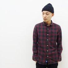 KATO' BASIC  ラウンドカラーシャツ(RED×NAVY)