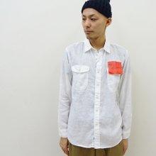KATO' シャンブレーリネンワークシャツ (WHITE)