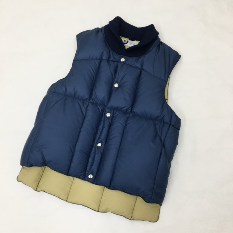 CRESCENT DOWN WORKS Rib Collar Quilting VEST (RIP STOP NAVY)