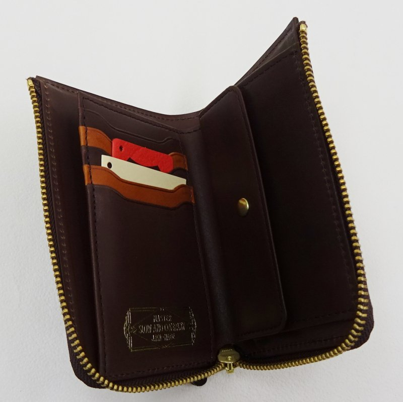 SLOW Double Oil L Zip Short Wallet (CHOCO)