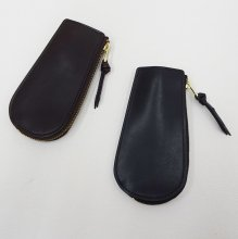 SLOW Double Oil Zip Key Case (BLACK/CHOCO)