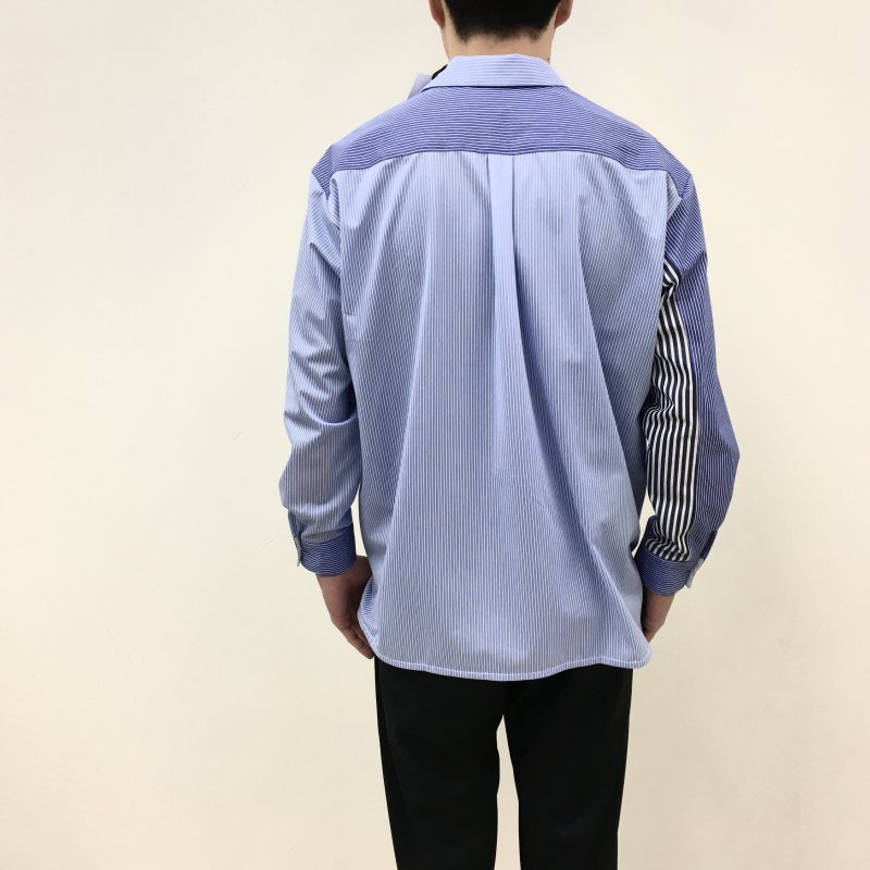 CURLY CLOUDY L/S SHIRTS(PANEL STRIPE-CRAZY BLUE)