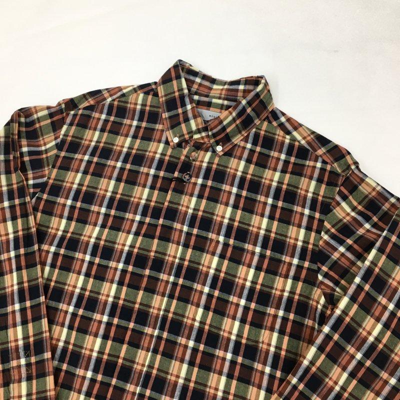nisica チェックボタンダウンシャツ(ORANGE)