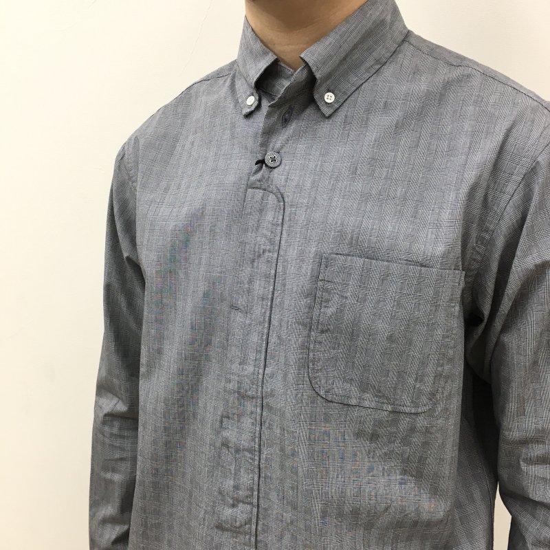 nisica チェックボタンダウンシャツ(GRAY)