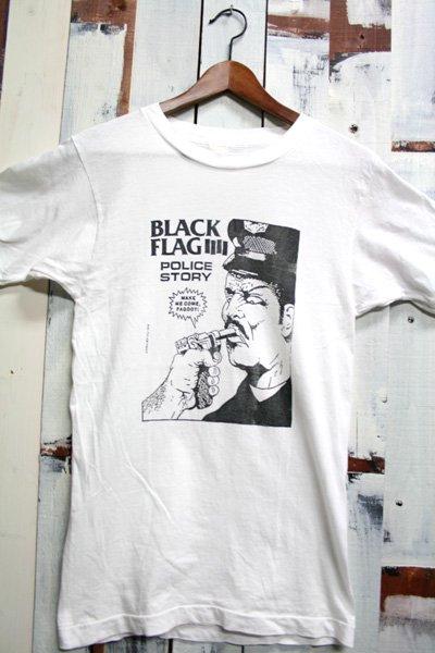 80年代 BLACK FLAG【ブラック・フラッグ】 ビンテージ バンドTシャツ POLICE STORY オリジナル