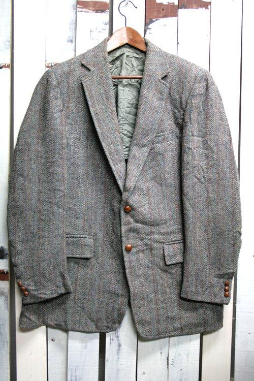 Harris Tweed ( ハリスツイード) 2つボタン テーラードジャケット 古着 グレイ
