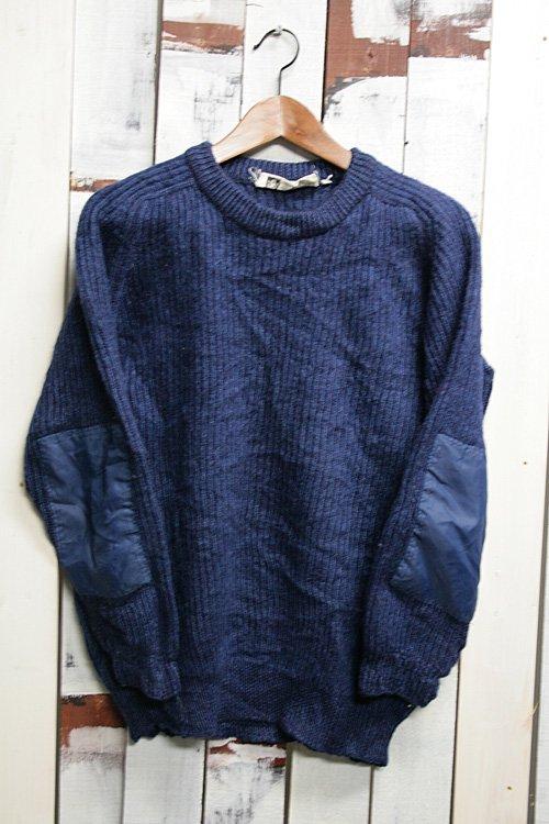 イングランド製 セーター 古着 紺 ローゲージ ネイビー 無地 エルボーパッチ