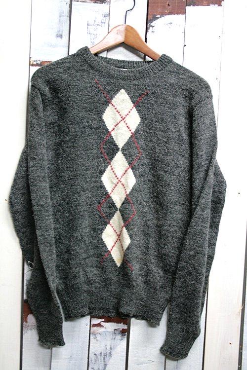 アーガイル柄 セーター 古着 チャコールグレイ メンズ