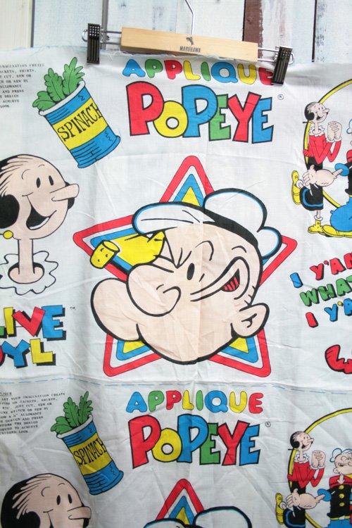80年代 ビンテージ 生地 ポパイ アメコミ柄 白 ホワイト