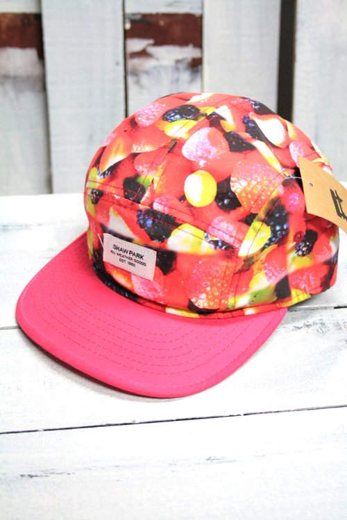 古着 キャップ 帽子 総柄 赤 ピンク ベースボールキャップ フルーツ柄 レディース メンズ