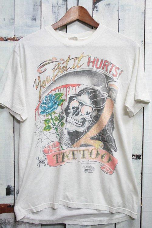 80年代 J.D.Crowe TATTOO Tシャツ スカル タトゥー ビンテージ ホワイト 白