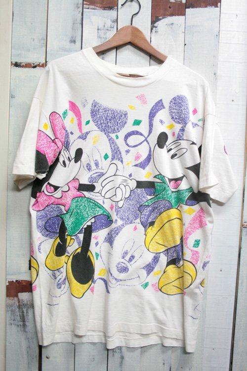 古着 ミッキーマウス ミニーマウス 総柄Tシャツ 白 ホワイト ディズニー オフィシャル