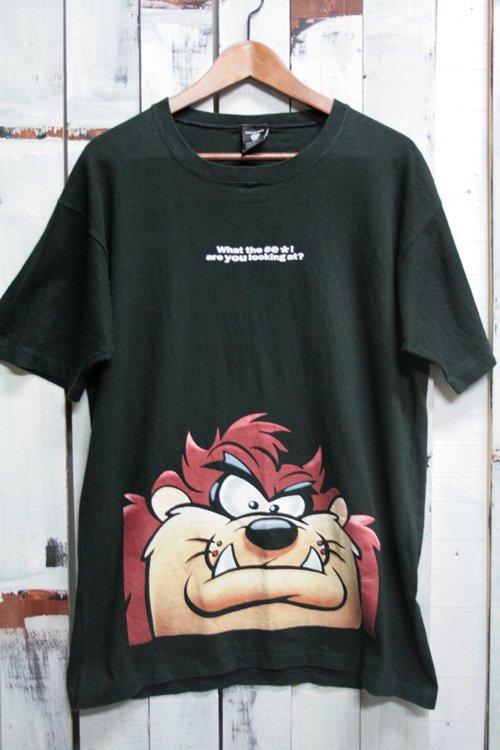 古着 タスマニアデビル ワーナーブラザーズ キャラクター ブラック 黒 Tシャツ プリントTシャツ