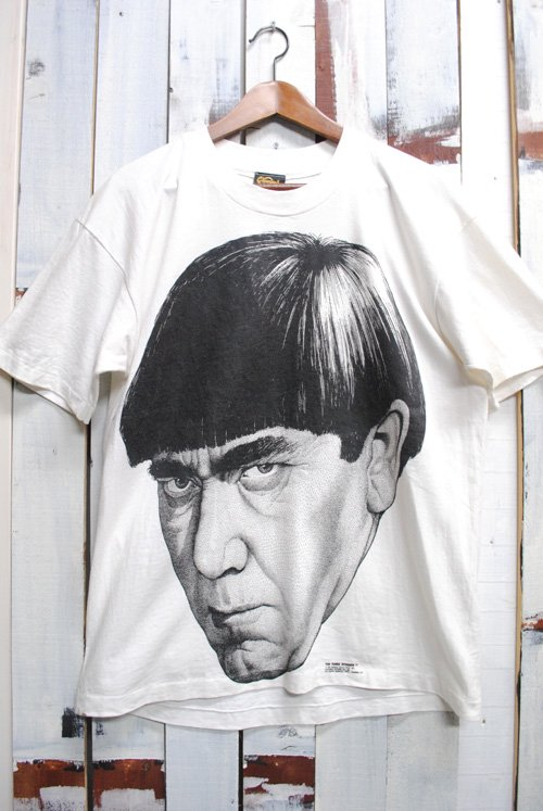 90年代 ビンテージTシャツ The Three Stooges スリーストゥージス モー・ハワード ホワイト 白
