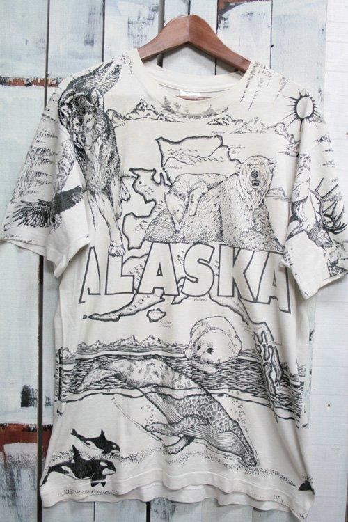 90年代 ビンテージ Tシャツ アラスカ 総柄 プリントTシャツ 白クマ アザラシ クジラ 動物柄 ホワイト…