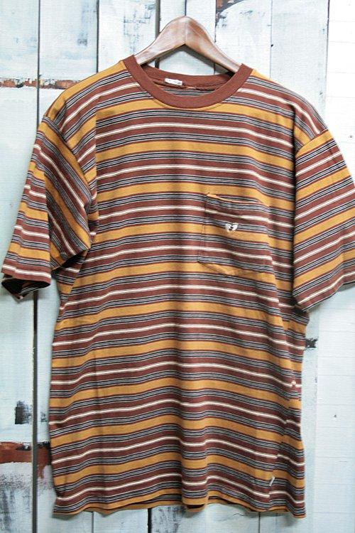 古着 HANG TEN ハンテン マルチボーダー ポケットTシャツ ブラウン 茶 サーフ Tシャツ