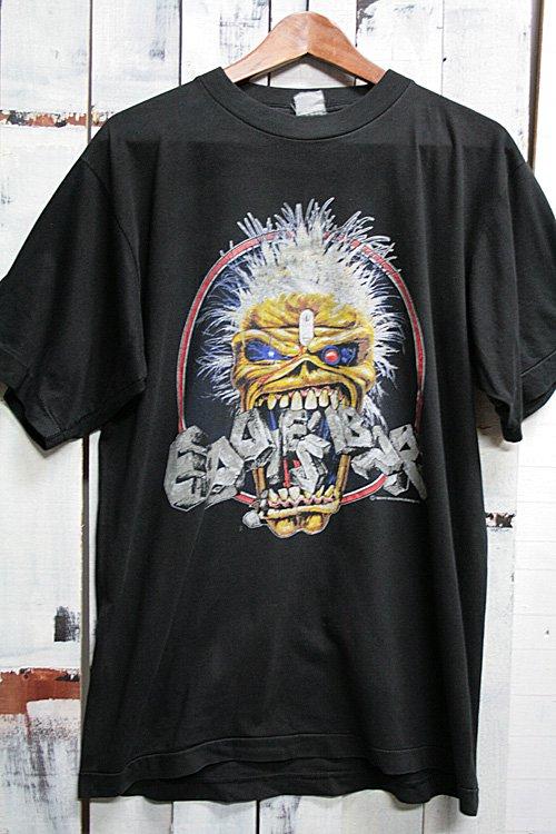 80年代 ビンテージバンドTシャツ アイアンメイデン IRON MAIDEN ブラック 黒 eddie's bar 1989年製 オリジナル