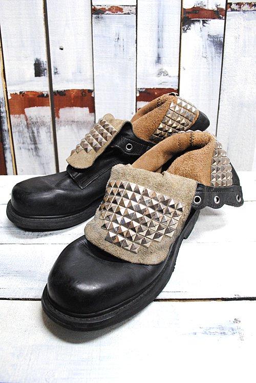 スタッズブーツ ミリタリーブーツ ブラック 黒 中古 ビンテージ 編み上げブーツ