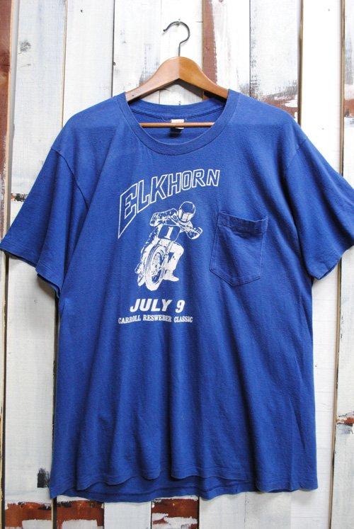 80年代 ビンテージ ポケットTシャツ ブルー 青 モーターサイクル バイク 単車 古着 耳付 ポケT