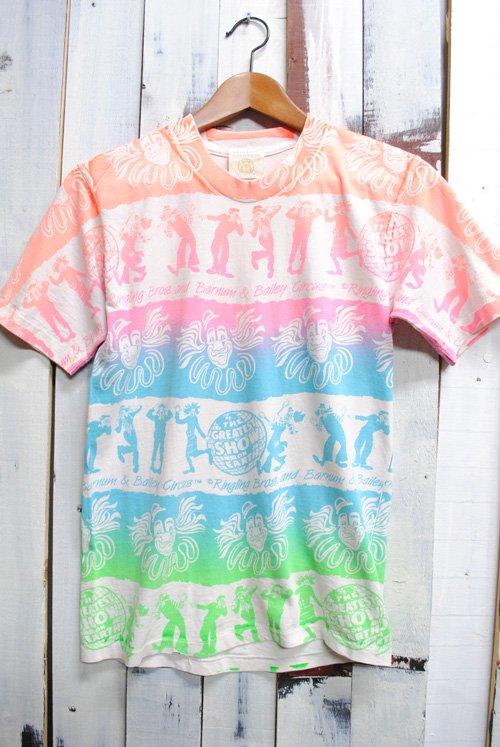 90年代 総柄 Tシャツ リングリング・ブラザーズ・アンド・バーナム・アンド・ベイリー・サーカス 古着 ビンテージ ホワイト ピエロ