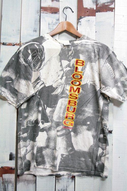 90年代 ヴィンテージ Tシャツ 総柄 カレッジ Bloomsburg University アメフト 古着
