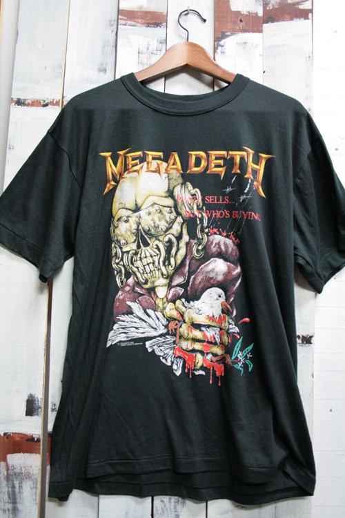 80年代 メガデス(Megadeth)ヴィンテージ バンドTシャツ ブラック 黒 古着 Peace Sells But Who's Buying