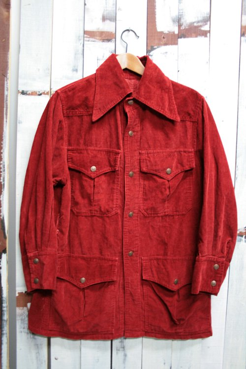 70年代頃 コーデュロイジャケット サファリジャケット 古着 ヴィンテージ 赤 赤茶