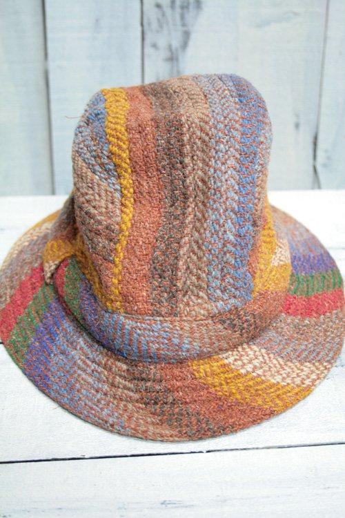 60年代 アイルランド製 ウールハット 帽子 ブラウン ヴィンテージ 古着 ブラウン 茶 レインボーカラー