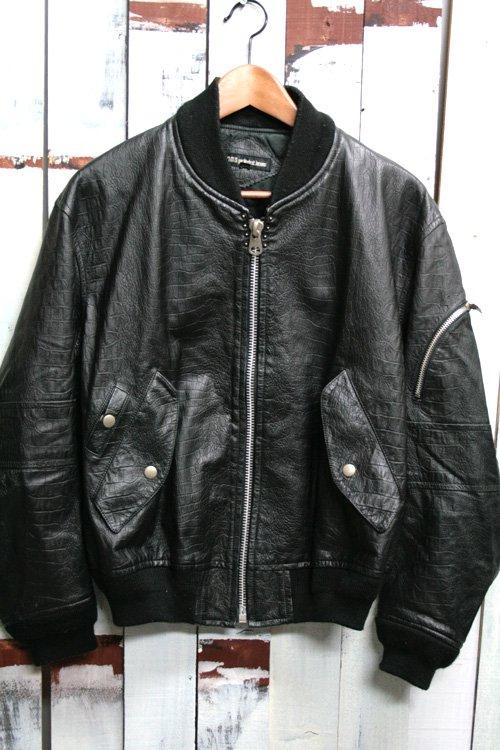 古着 シングルレザージャケット ブルゾンタイプ ブラック モード 黒 メンズ