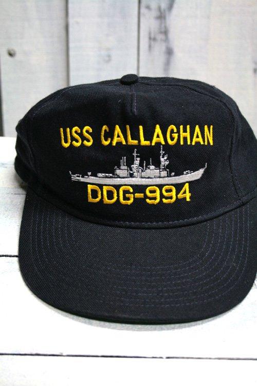 80年代〜90年代頃 USS Callaghan DD-994 キャップ USネイビー 海軍キャップ ネイビー 濃紺 アメリカ製