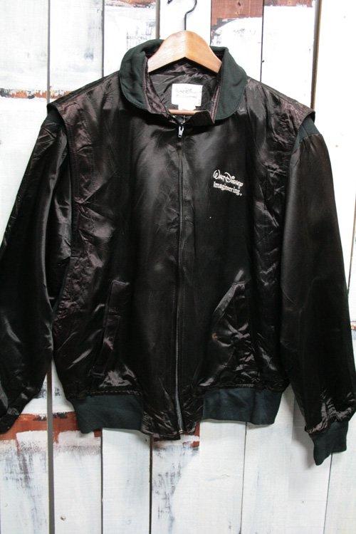 古着 ミッキーマウス サテンジャケット 古着 ブラック 黒 ブルゾン ディズニー・イマジニアリング スタッフジャケット