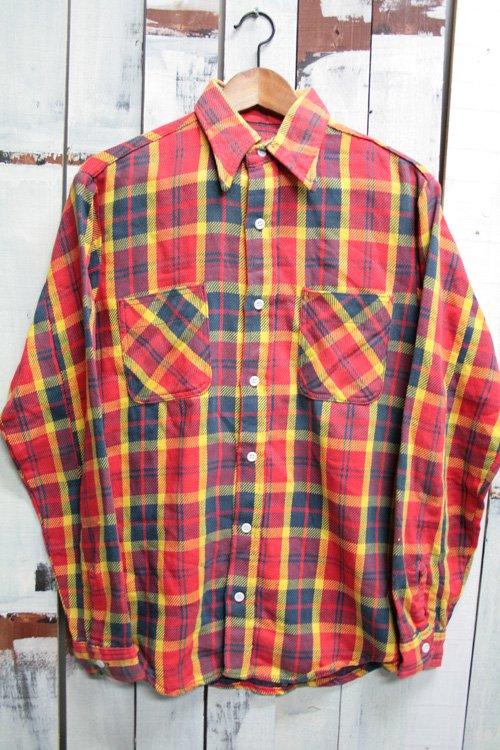 80年代頃 古着 ヘビーネルシャツ レッド イエロー ネイビー
