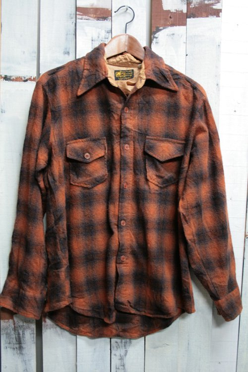 70年代頃 K-mart Kマート ウールシャル 古着 ブラウン 赤茶 古着 チェックシャツ オンブレ・チェック シャドーチェック